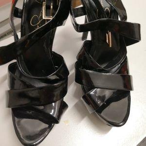 jessica simpson strappy heels Black